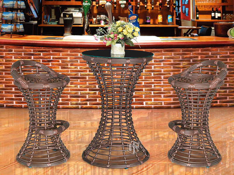 wicker furniture set 1+2 home bar table and stool   - DR-4125