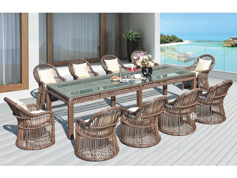 Rattan patio furniture wicker table and chairs 1+10 DR-3350T/C