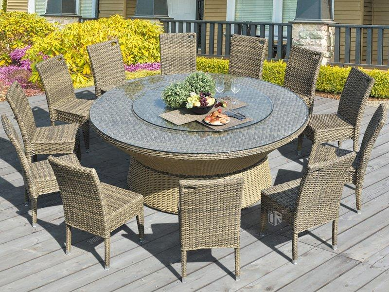 Wicker furniture rattan round table and chairs 1+12 for sale- DR-3348