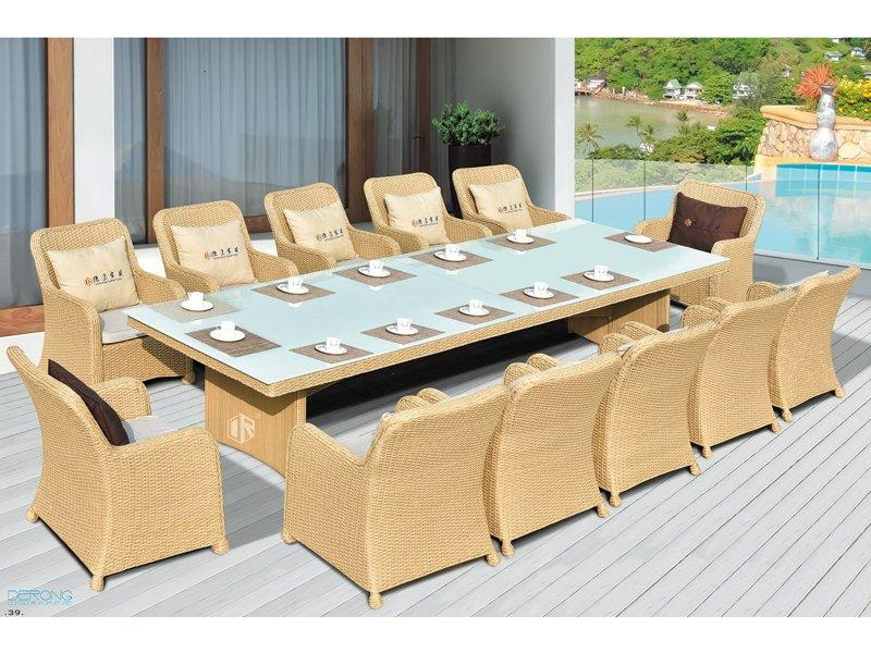 Rattan garden furniture sale 1+12 meeting table and chairs DR-3347T/C
