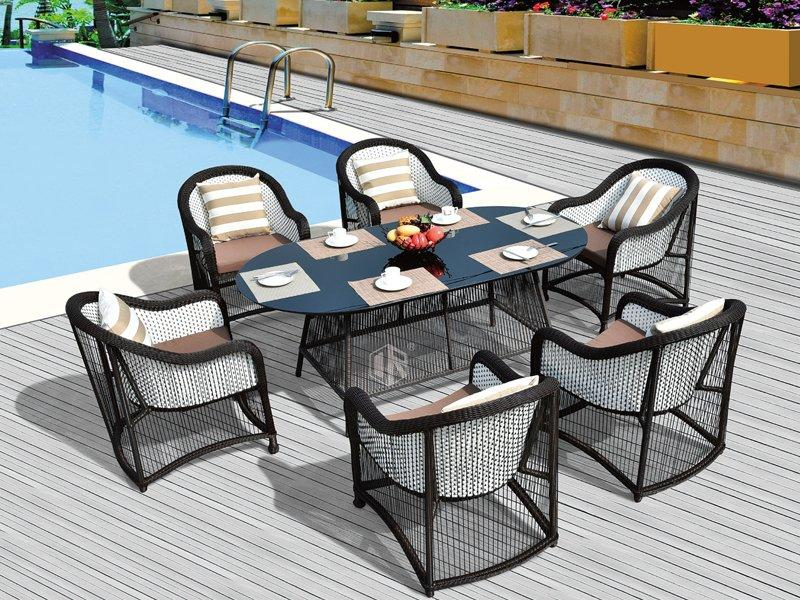 Rattan furniture table & chair 1+6 dining set - DR-3322