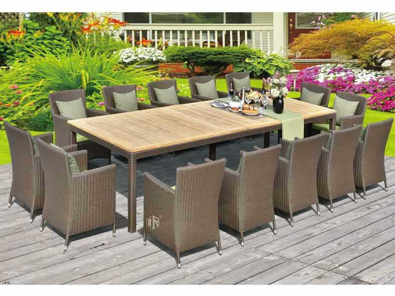 Outdoor rattan furniture sale 1+14 meeting table and chairs DR-3353T/C