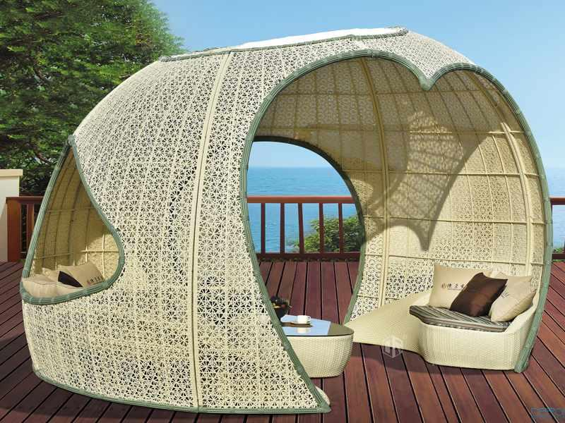 Rattan patio canopy gazebo - DR-1148