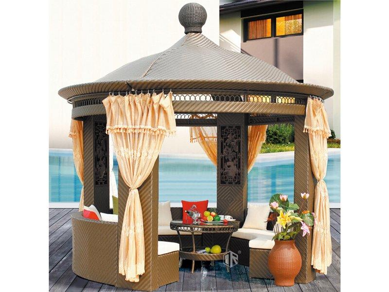 Chinese style rattan patio gazebo dia350 leisure pavilion DR-1101