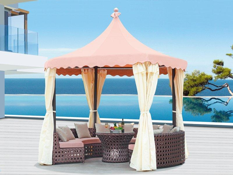 Patio canopy gazebo Dia 350 outdoor rattan sofa gazebo DR-1105A