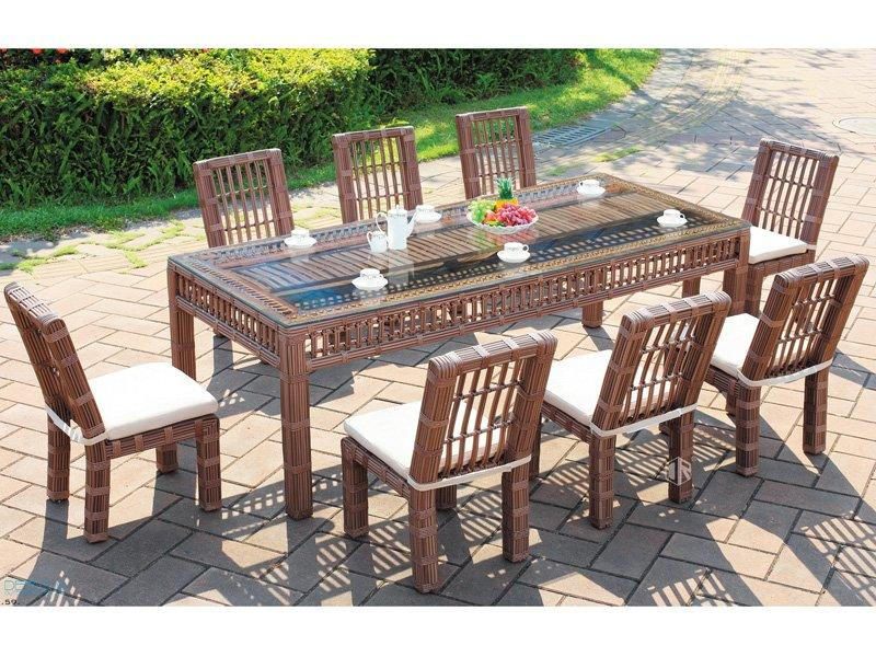 Rattan patio furniture 1+8 customized size garden set DR-3267