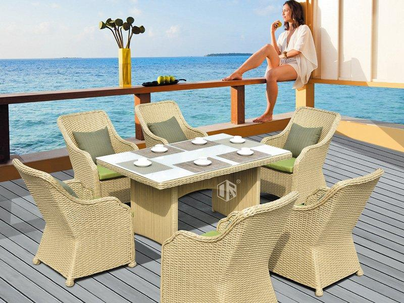 Outdoor wicker patio furniture 1+6 coffee table and chairs DR-3352T/C