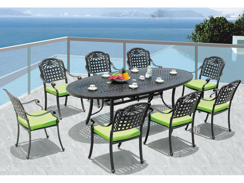 Garden aluminum furniture table and chairs 1+8 DR-3281T/3250AC