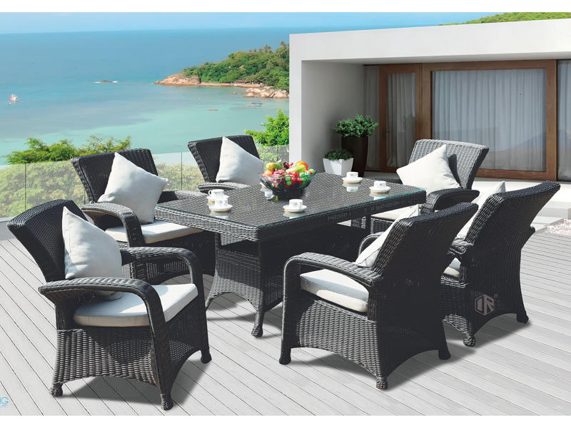 Rattan garden furniture sale PE wicker garden leisure table chair DR-3108A