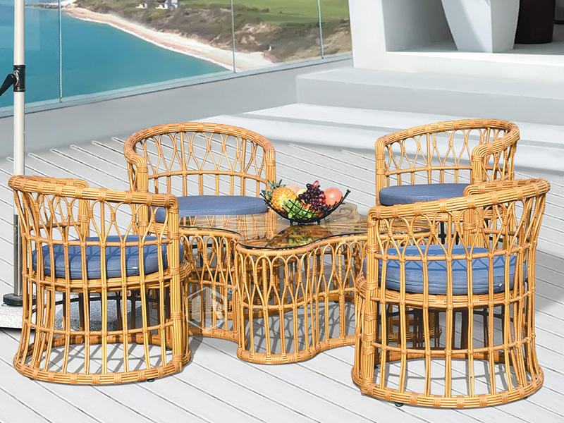 Rattan garden furniture four leaves clover design coffee table and chiars DR-3103A