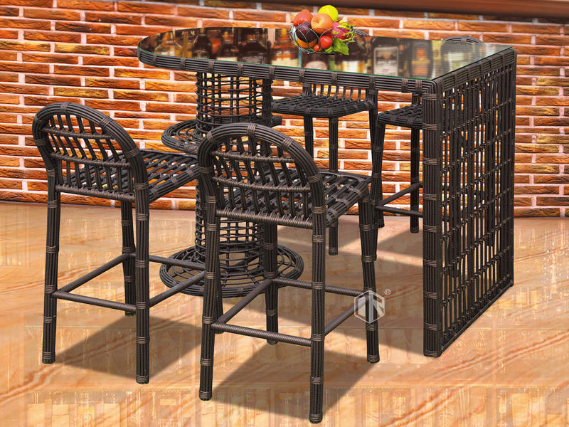 Commercial wicker outdoor bar table and stool 1+4 - DR-4122