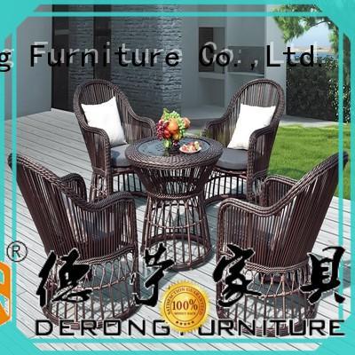Derong Furniture round rattan furniture set series for seaside