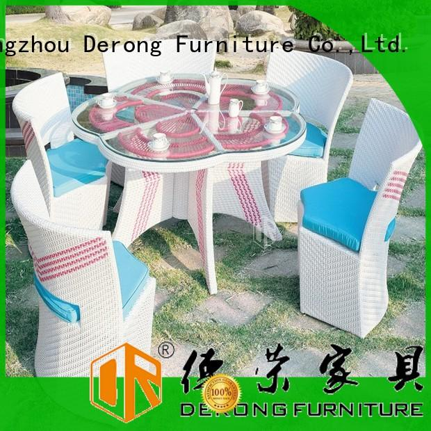 Derong Furniture round brown rattan garden furniture factory direct supply for restaurant