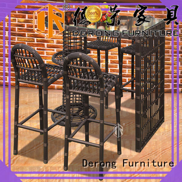 Derong Furniture leisure wicker rattan bar stools directly sale for garden
