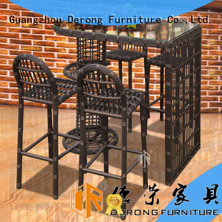 Derong Furniture aluminum frame outdoor bar furniture wholesale for coffee shop