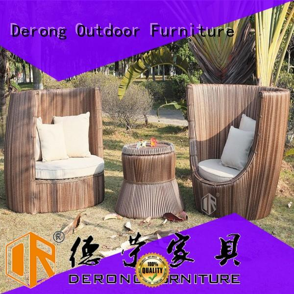 Derong Furniture with teak wood tabletop brown rattan garden furniture directly sale for resort hotels