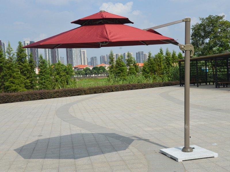 best price on patio umbrellas Round double layers canopy roma sun umbrella - DR-6102A