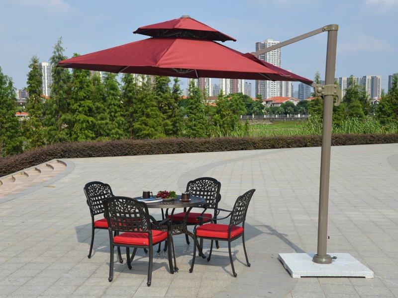 best price on patio umbrellas Round double layers canopy roma sun umbrella - DR-6102A