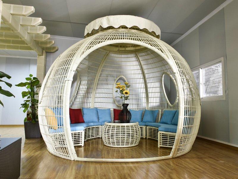 Round ball shape PE round rattan garden gazebo - DR-1138