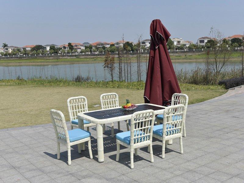 wicker patio furniture 1+6 Garden family dining wicker table & chair - DR-3306