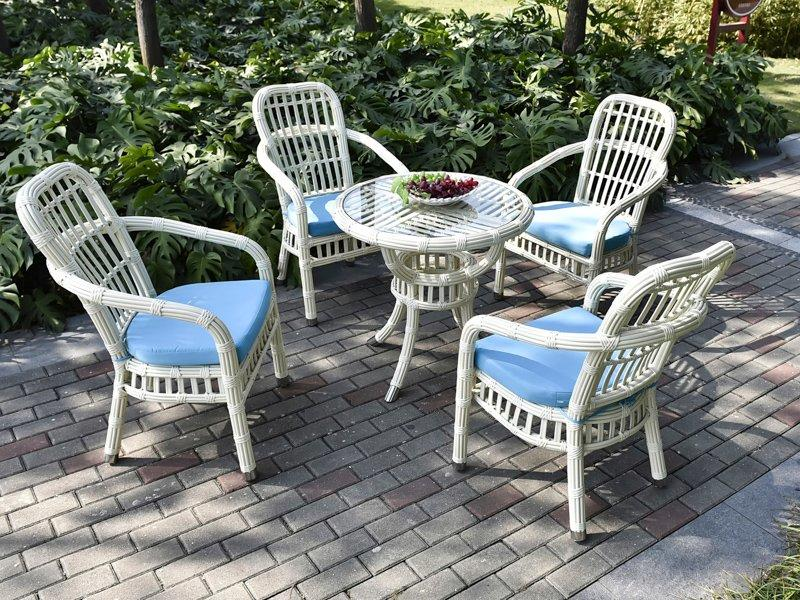 wicker patio furniture sale round rattan aluminum alloy frame patio table & chair - DR-3327