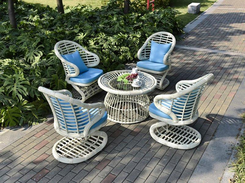 white wicker outdoor furniture Comfortable PE Rattan waterproof nonrust table & chair - DR-3328