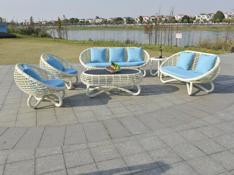 Fancy round stylish PE rattan outdoor waterproof sofa set rattan garden furniture sale - DR-2186