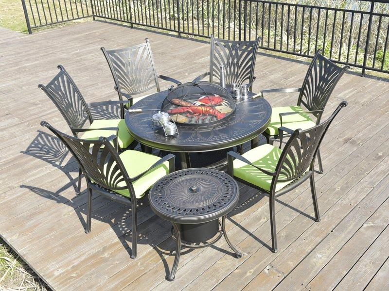 Outdoor cast aluminum round barbecue grill table and patio chairs - DR-3232BT&DR-3313C