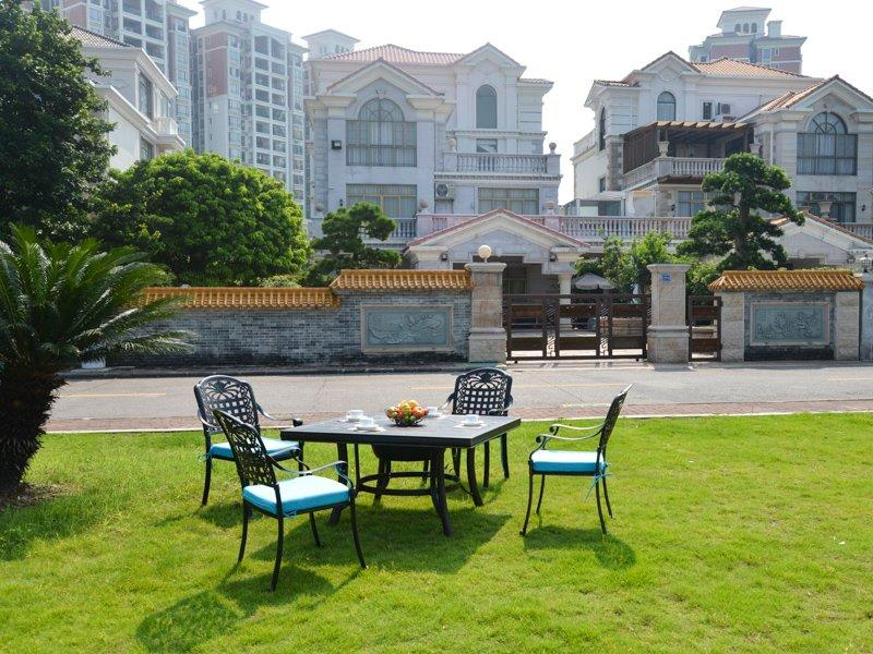 Cast aluminum metal square table with barbecue grill and garden chairs - DR-3232ET&DR-3250AC