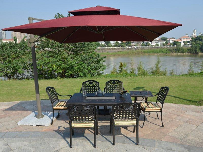 Patio Barbecue party cast aluminum BBQ table and chairs - DR-3232FT&DR-3250AC