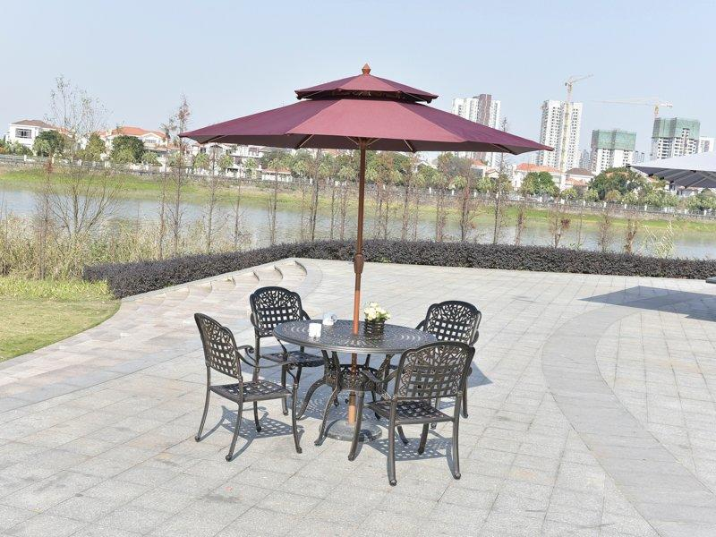 Patio Leisure Cast Aluminum Dia 120cm Table & Chair - DR-3250BT& DR-3266C