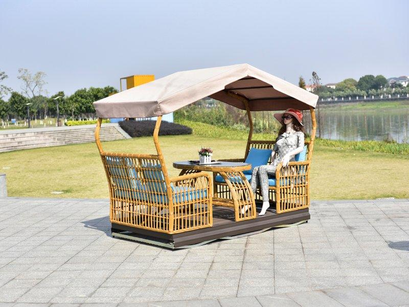PE rattan interesting 4 seats glider swing with canopy - DR-8103B