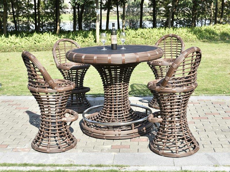 PE thick round rattan qualified outdoor club bistro bar stool set  - DR-4126
