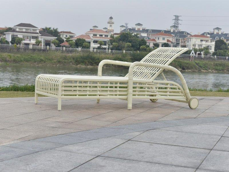 PE rattan patio leisure sun chaise lounge  - DR-5198
