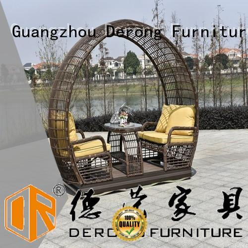 Derong Furniture PE rattan wooden glider directly sale for resort hotel