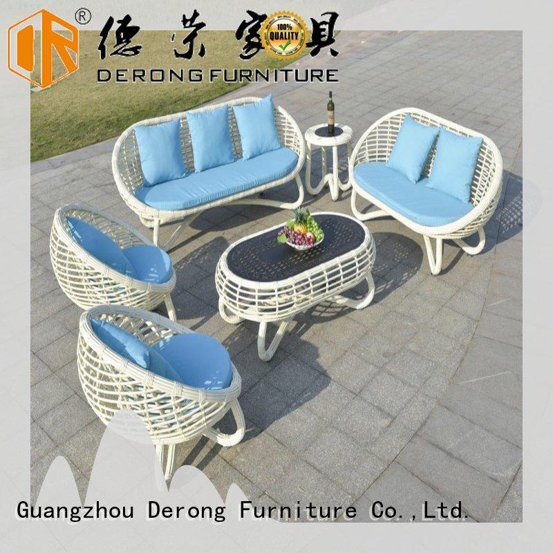 Derong Furniture brown outdoor wicker sofa manufacturers for villa
