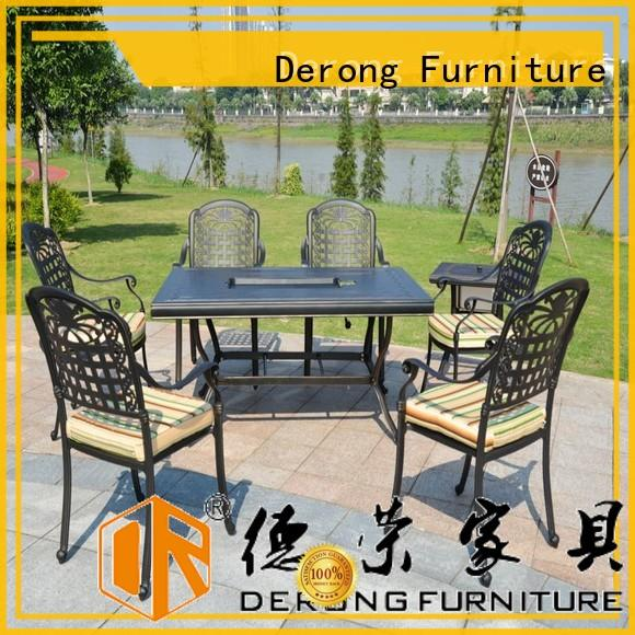 Derong Furniture stable cast aluminum patio set factory for garden