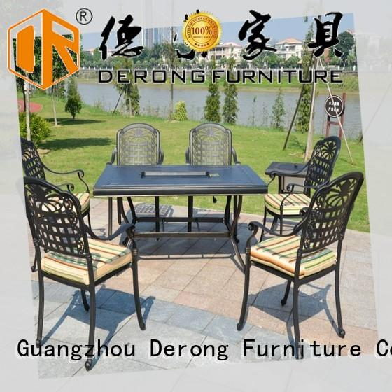 Derong Furniture metal aluminum patio dining set factory direct supply for swimming pool