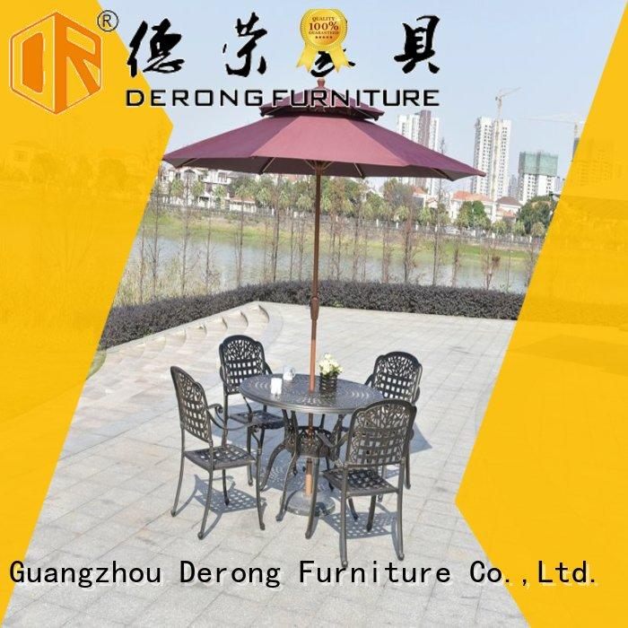 Derong Furniture metal cast aluminum outdoor dining set factory price for garden