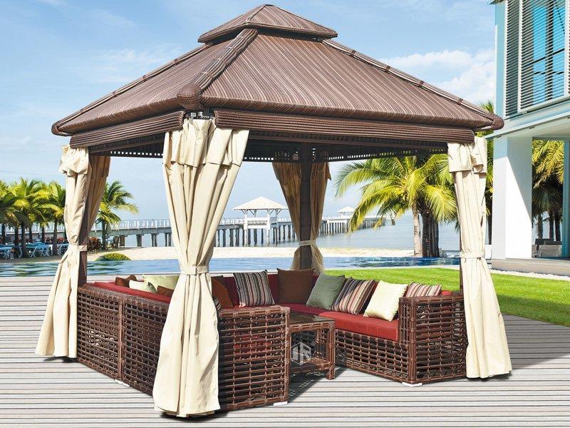 Luxury commercial rattan patio gazebo 300*300cm hotel garden pavilion DR-1102A