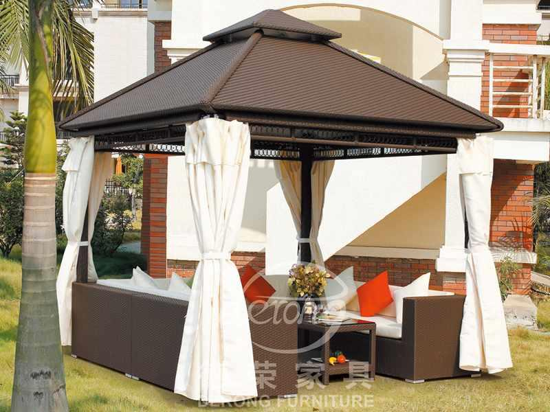 Resort rattan patio gazebo 300*300cm garden pavilion DR-1102