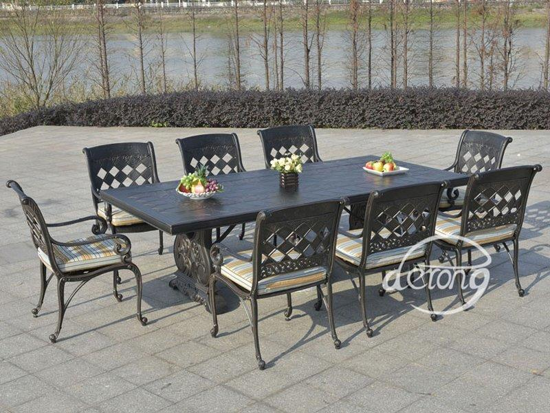 Luxury cast aluminum 1+8 Hotel restaurant outdoor table and chairs - DR-3298T/C