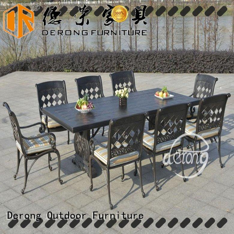 Derong Furniture with barbecue grill aluminium garden table and chairs design for swimming pool